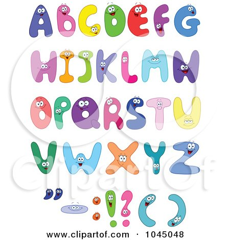 Royalty-Free (RF) Clip Art Illustration of a Digital Collage Of Colorful Alphabet Characters by yayayoyo