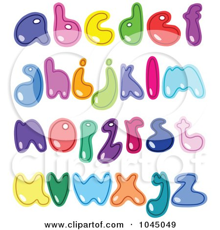 Royalty-Free (RF) Clip Art Illustration of a Digital Collage Of Colorful Lowercase Alphabet Letters by yayayoyo