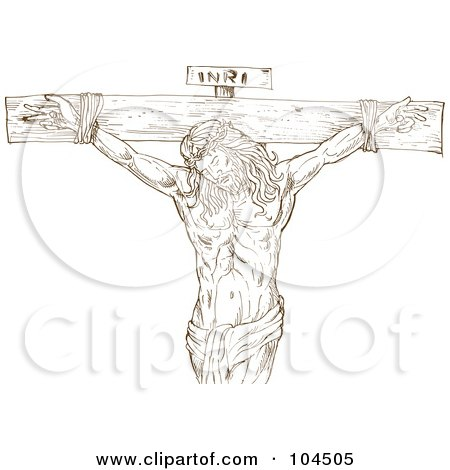 Royalty-Free (RF) Clipart Illustration of a Brown Sketch Of INRI Over Jesus Christ On A Crucifix by patrimonio