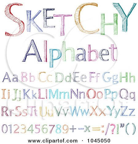 Royalty-Free (RF) Clip Art Illustration of a Digital Collage Of Colorful Sketched Alphabet Letters And Numbers by yayayoyo