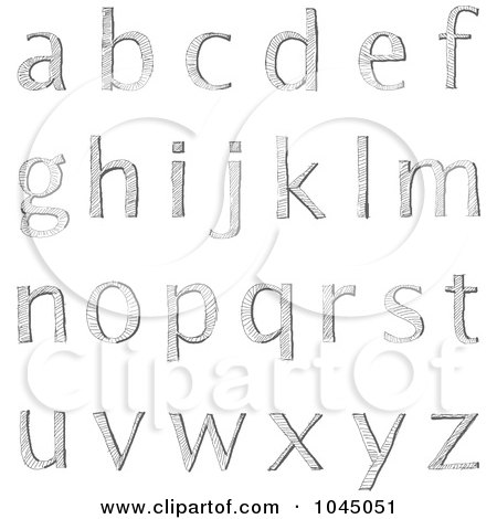 Royalty-Free (RF) Clip Art Illustration of a Digital Collage Of Sketched Lowercase Alphabet Letters by yayayoyo