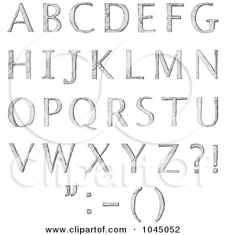Royalty-Free (RF) Clip Art Illustration of a Digital Collage Of Sketched Capital Alphabet Letters by yayayoyo