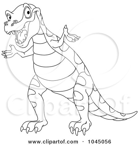 Royalty-Free (RF) Clip Art Illustration of a Coloring Page Outline Of A Cute Tyrannosaurus Rex by yayayoyo
