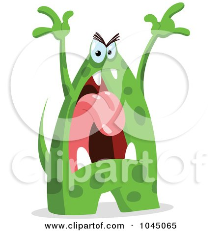 Royalty-Free (RF) Clip Art Illustration of an Angry Green Monster by yayayoyo