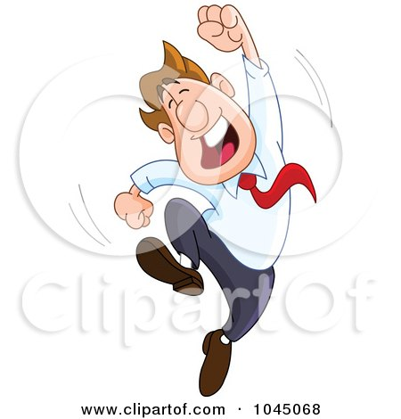 Royalty-Free (RF) Clip Art Illustration of a Happy Businessman Leaping With One Arm In The Air by yayayoyo