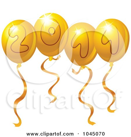 Royalty-Free (RF) Clip Art Illustration of Golden 2011 New Year Balloons by yayayoyo
