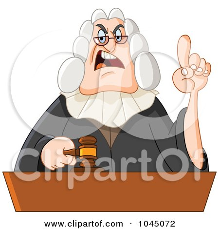 Royalty-Free (RF) Clip Art Illustration of a Stern Judge Holding Up A Finger by yayayoyo