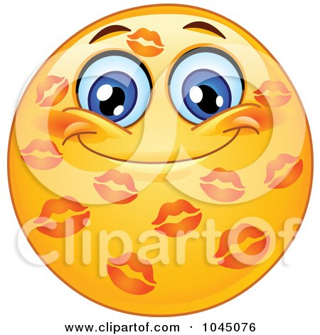 Royalty-Free (RF) Clip Art Illustration of a Grinning Emoticon Covered In Lipstick Kisses by yayayoyo