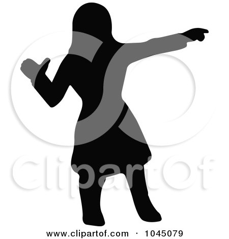 Royalty-Free (RF) Clip Art Illustration of a Black Silhouetted Native American Woman Pointing by JR