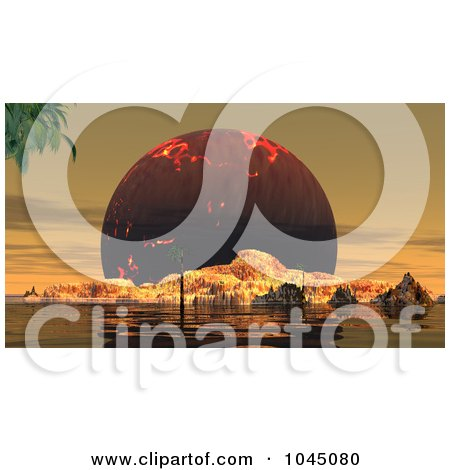 Royalty-Free (RF) Clip Art Illustration of a 3d Render Of A Huge Fiery Sun Behind A Rugged Island by JR