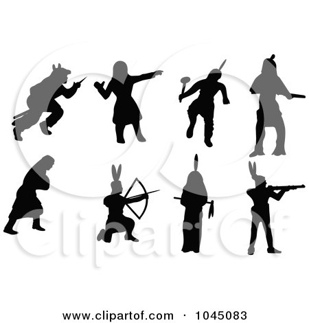 Royalty-Free (RF) Clip Art Illustration of a Digital Collage Of Black Native American Silhouettes by JR