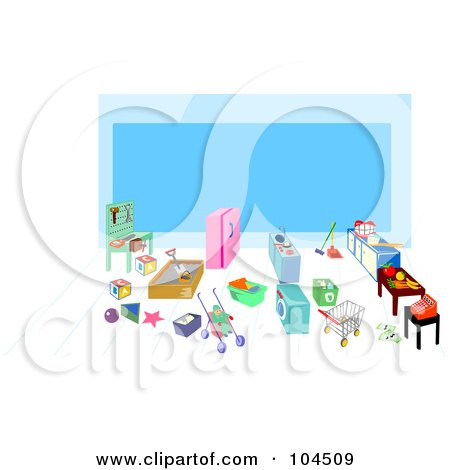 Royalty-Free (RF) Clipart Illustration of a Children's Grocery Play Area by patrimonio