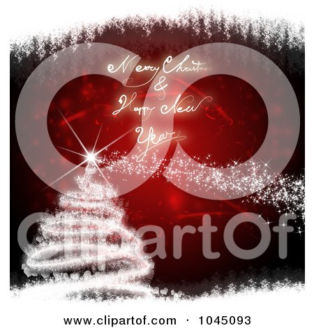 clipart picture of a red and white merry christmas and happy new year