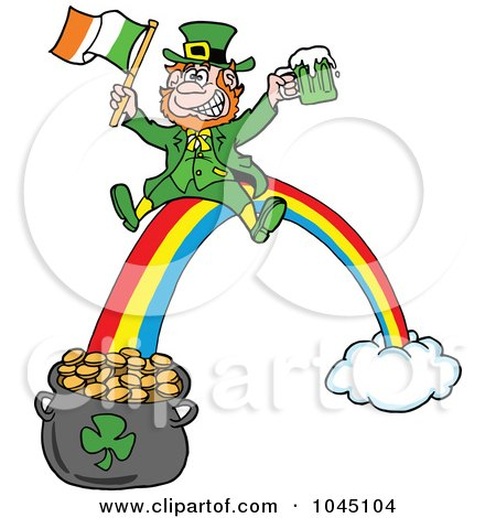 Royalty-Free (RF) Clip Art Illustration of a Leprechaun Holding Beer And An Irish Flag While Sliding Down A Rainbow by LaffToon