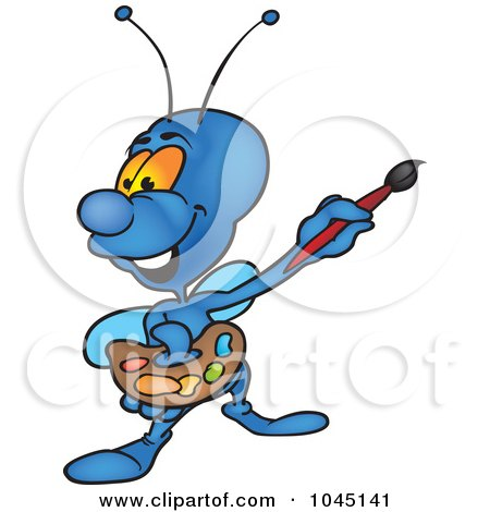Royalty-Free (RF) Clip Art Illustration of a Painting Bug by dero
