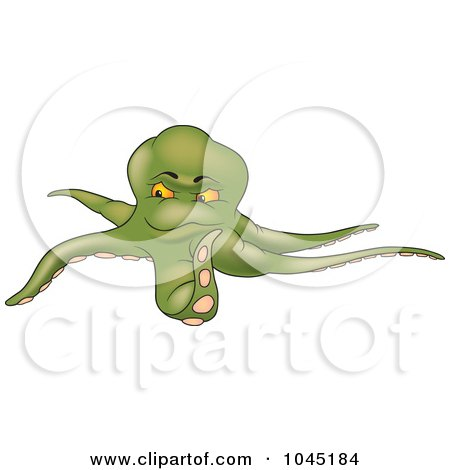 Royalty-Free (RF) Clip Art Illustration of a Green Octopus - 1 by dero