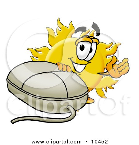 Clipart Picture of a Sun Mascot Cartoon Character With a Computer Mouse by Toons4Biz