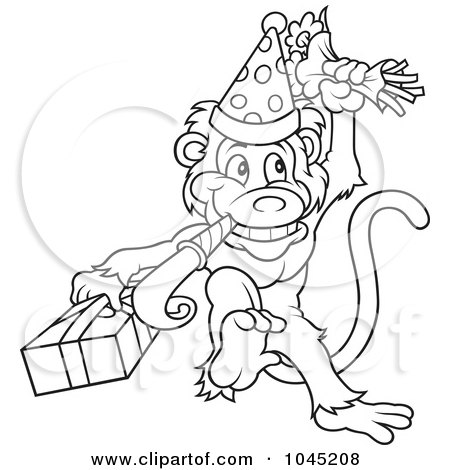 clip art black and white monkey