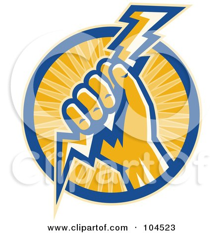 Royalty-Free (RF) Clipart Illustration of a Hand Holding A Lightning Bolt Logo by patrimonio