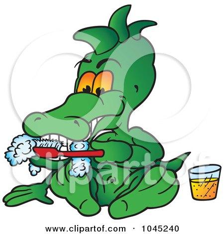 Royalty-Free (RF) Clip Art Illustration of a Crocodile Brushing His Teeth by dero