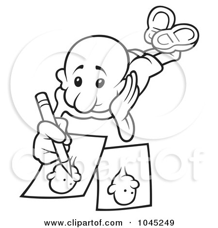 Royalty-Free (RF) Clip Art Illustration of a Black And White Outline Of A Man Drawing by dero