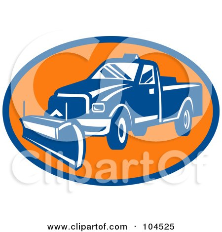 Royalty-Free (RF) Clipart Illustration of a Blue And Orange Snow Plow Logo by patrimonio