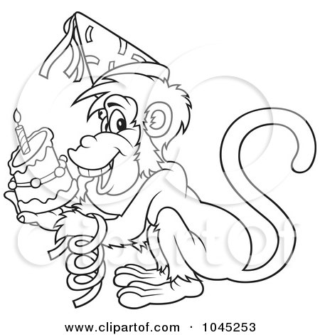 Black And White Monkey Drawing. Similar Monkey Stock
