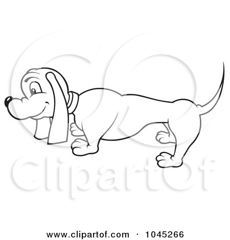 Royalty-Free (RF) Clip Art Illustration of a Black And White Outline Of A Wiener Dog by dero