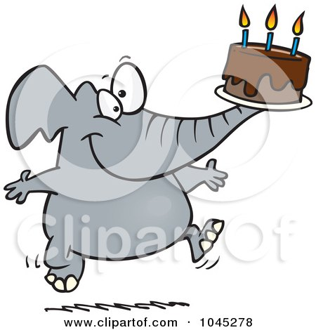 Royalty-Free (RF) Clip Art Illustration of a Cartoon Birthday Elephant Carrying A Cake by toonaday
