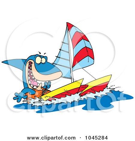 Royalty-Free (RF) Clip Art Illustration of a Cartoon Shark Sailing A Catamaran by toonaday