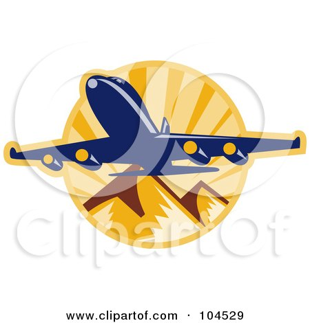 Royalty-Free (RF) Clipart Illustration of a Plane Over Mountains Logo by patrimonio