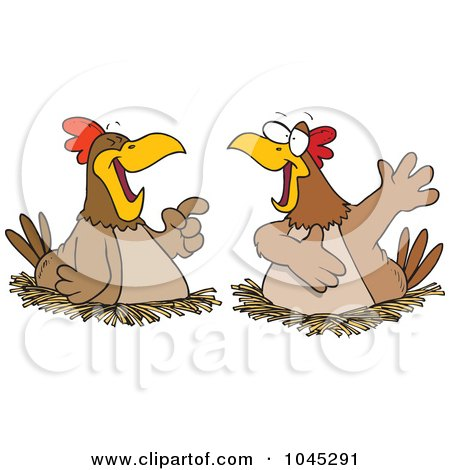 Royalty-Free (RF) Clip Art Illustration of Cartoon Chatting Chickens by toonaday