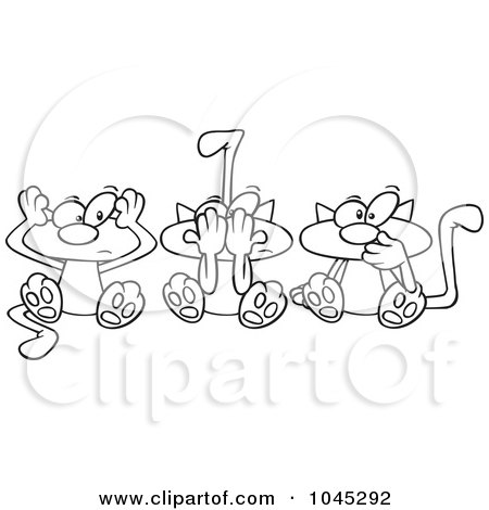 Royalty-Free (RF) Clip Art Illustration of a Cartoon Black And White Outline Design Of No Evil Cats by toonaday