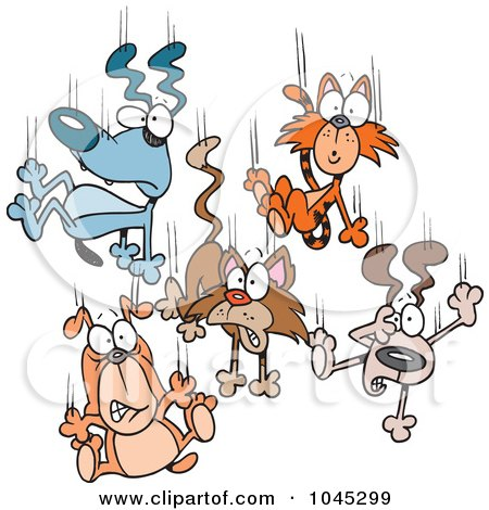 Royalty-Free (RF) Clip Art Illustration of Cartoon Cats And Dogs Raining Down by toonaday