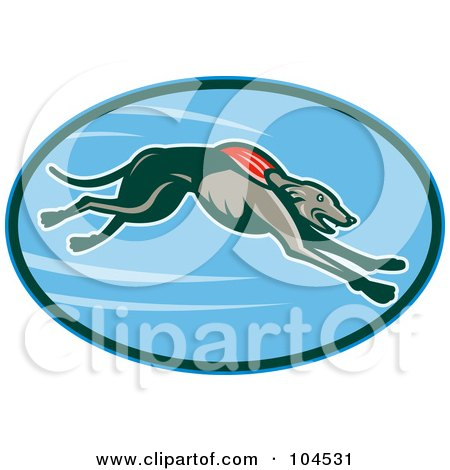 Royalty-Free (RF) Clipart Illustration of a Running Greyhound Logo by patrimonio
