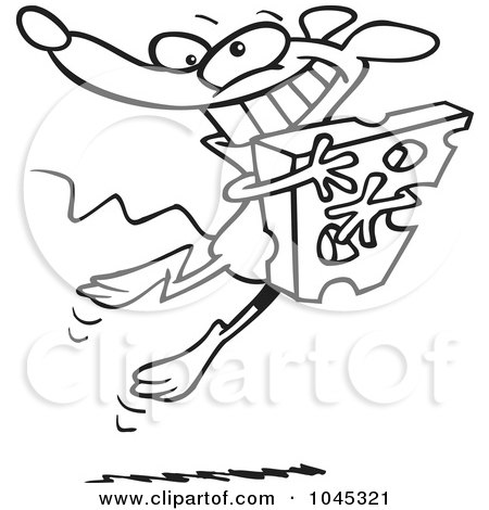 Royalty-Free (RF) Clip Art Illustration of a Cartoon Black And White Outline Design Of A Happy Mouse Hugging Cheese by toonaday
