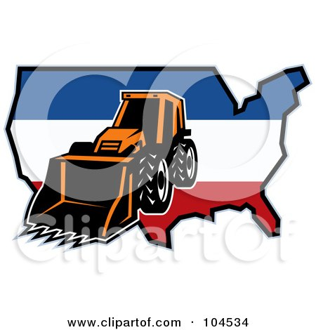 Royalty-Free (RF) Clipart Illustration of a Bulldozer And American Map Logo by patrimonio