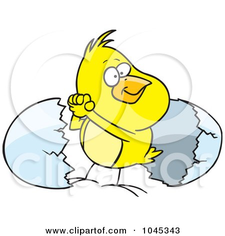Royalty-Free (RF) Clip Art Illustration of a Cartoon Victorious Chick By An Egg Shell by toonaday