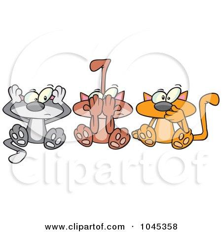 Royalty-Free (RF) Clip Art Illustration of Cartoon No Evil Cats by toonaday