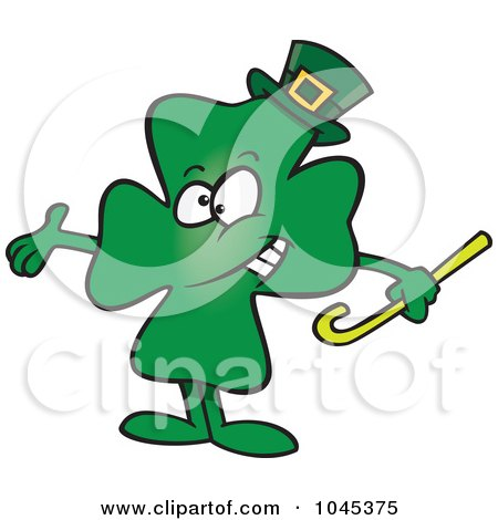 Royalty-Free (RF) Clip Art Illustration of a Cartoon Presenting St Patricks Day Clover by toonaday