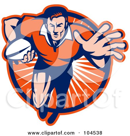 Royalty-Free (RF) Clipart Illustration of a Blue And Orange Running Rugby Player Logo by patrimonio