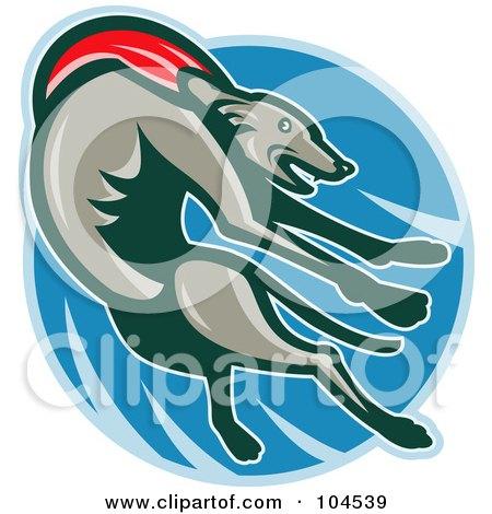 Royalty-Free (RF) Clipart Illustration of a Jumping Greyhound Logo by patrimonio