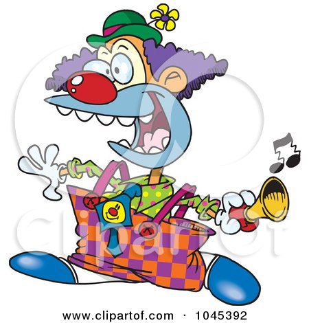 Royalty-Free (RF) Clip Art Illustration of a Cartoon Party Clown Using  A Horn by toonaday