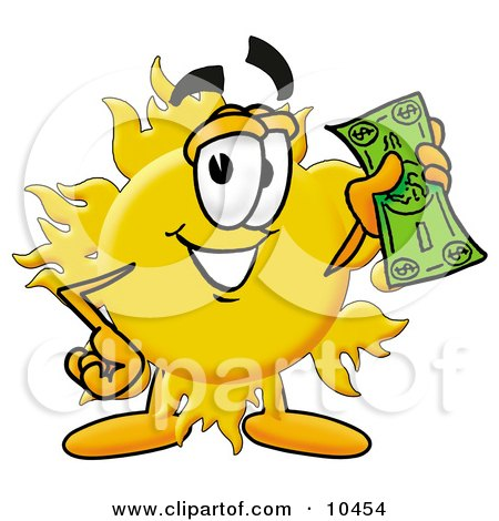 Clipart Picture of a Sun Mascot Cartoon Character Holding a Dollar Bill by Toons4Biz