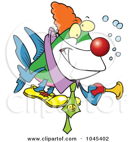 Royalty-Free (RF) Clip Art Illustration of a Cartoon Clown Fish Holding A Horn by toonaday