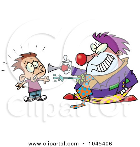Royalty-Free (RF) Clip Art Illustration of a Cartoon Clown Scaring A Boy by toonaday