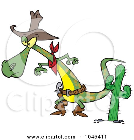 Royalty-Free (RF) Clip Art Illustration of a Cartoon Cowboy Lizard Ready To Draw His Gug by toonaday