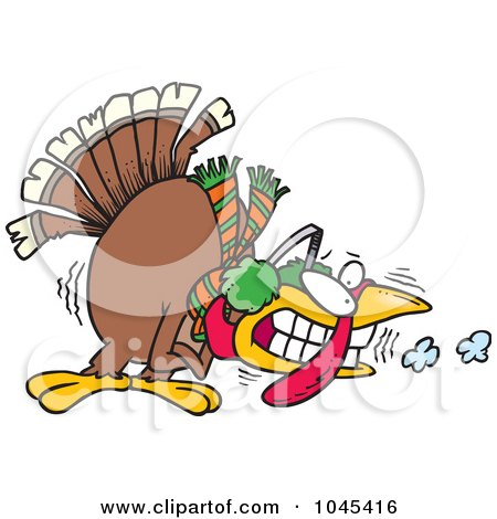 Royalty-Free (RF) Clip Art Illustration of a Cartoon Shivering Cold Turkey by toonaday