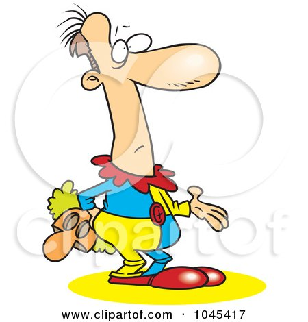 Royalty-Free (RF) Clip Art Illustration of a Cartoon Confused Male Clown Holding His Mask by toonaday