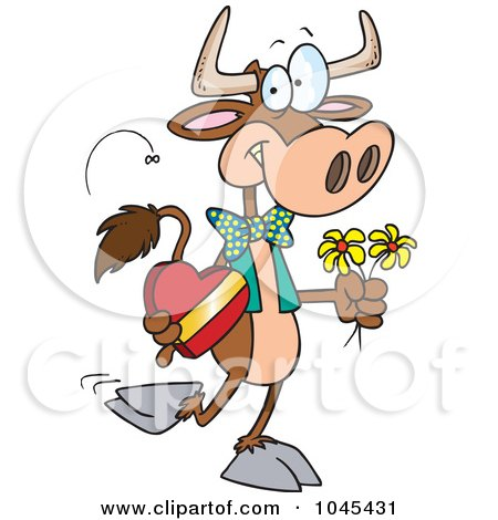 Royalty-Free (RF) Clip Art Illustration of a Cartoon Romantic Cow by toonaday